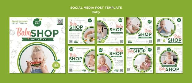 Publication sur les médias sociaux du magasin d'alimentation pour bébé