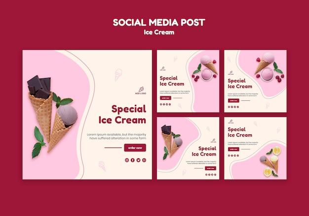 Publication sur les médias sociaux du magasin de crème glacée