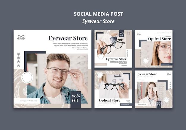 Publication sur les médias sociaux du magasin de lunettes