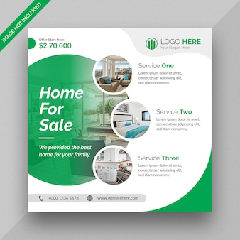 Publication de médias sociaux de l'entreprise immobilière et conception de modèle de flyer carré