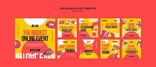 Publication sur les médias sociaux de l'événement en ligne