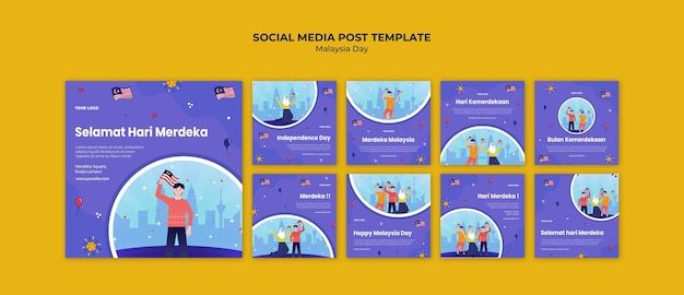 Publication sur les médias sociaux de la fête de l'indépendance de la malaisie
