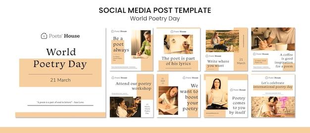 Publication sur les médias sociaux de la journée mondiale de la poésie