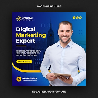 Publication de médias sociaux de marketing d'entreprise numérique ou bannière web carrée