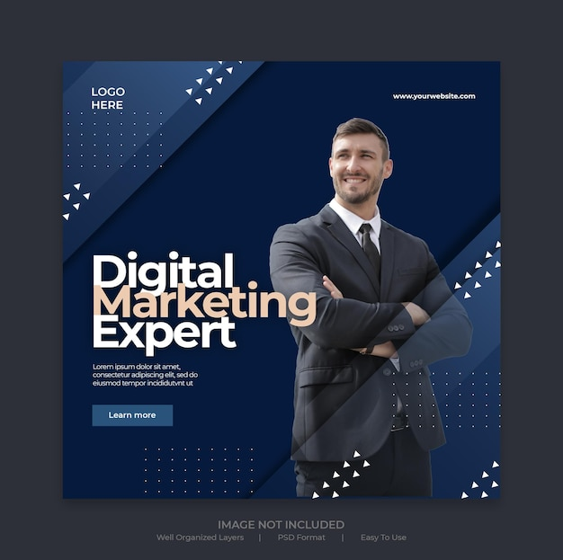 Publication de médias sociaux de marketing d'entreprise numérique ou modèle de bannière web carrée