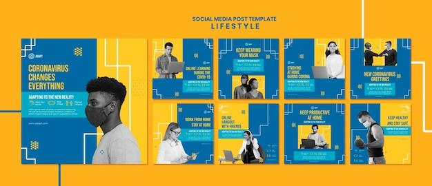 Publication de médias sociaux sur le mode de vie du coronavirus