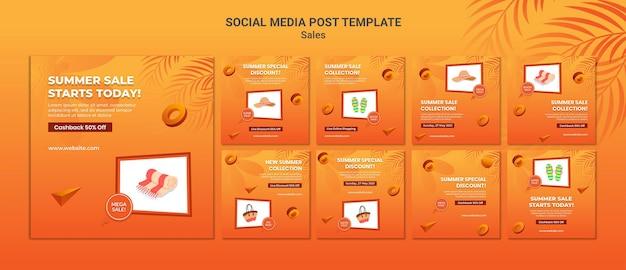 Publication Sur Les Médias Sociaux Des Soldes D'été PSD Premium