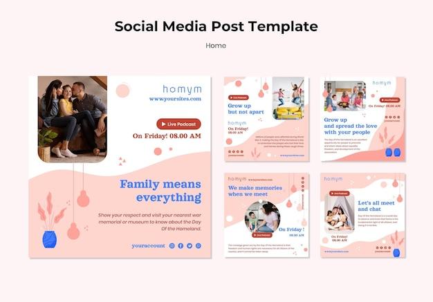 Publication de médias sociaux de temps de qualité avec modèle familial