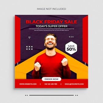 Publication sur les médias sociaux de la vente du black fridaybannière web de publication instagram ou modèle de couverture facebook