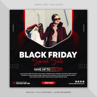 Publication sur les médias sociaux de la vente du vendredi noir ou modèle de flyer carré de bannière instagram