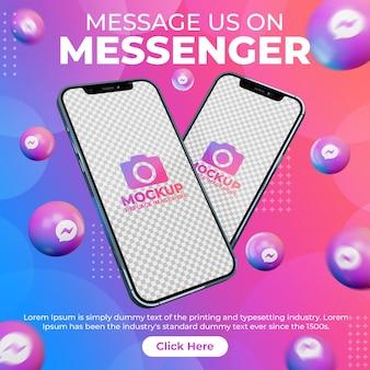 Publication de messager sur les réseaux sociaux créatifs avec maquette de téléphone portable pour la promotion du marketing numérique