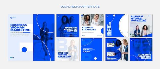 Publication de modèle de médias sociaux avec une femme d'affaires