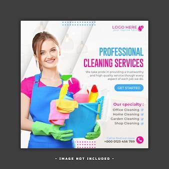 Publication ou modèle sur les réseaux sociaux du service de nettoyage à domicile premium