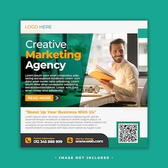 Publication sur les réseaux sociaux d'une agence de marketing numérique et bannière web ou modèle de flyer carré premium psd
