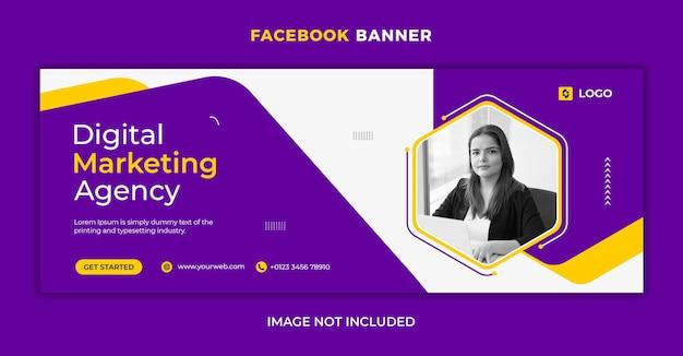 Publication sur les réseaux sociaux d'une agence de marketing numérique et modèle de couverture facebook
