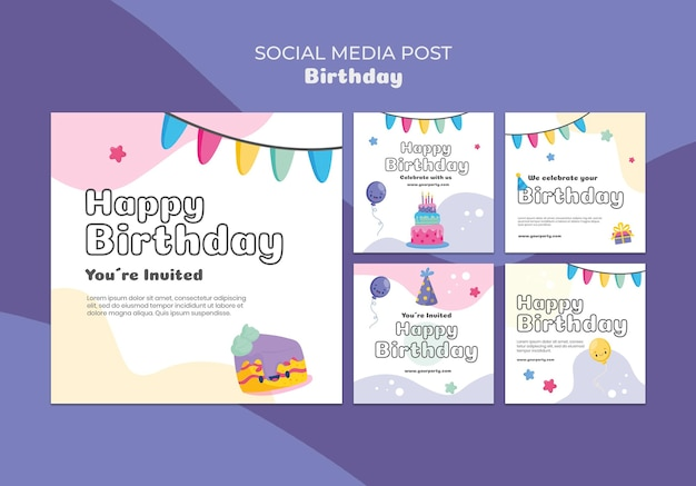 Publication sur les réseaux sociaux de célébration d'anniversaire