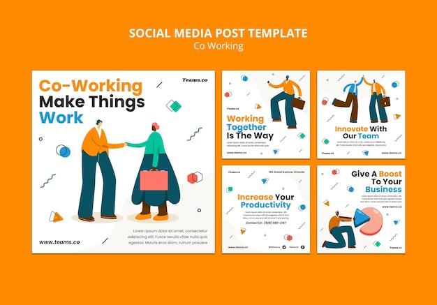 Publication sur les réseaux sociaux de concept de coworking