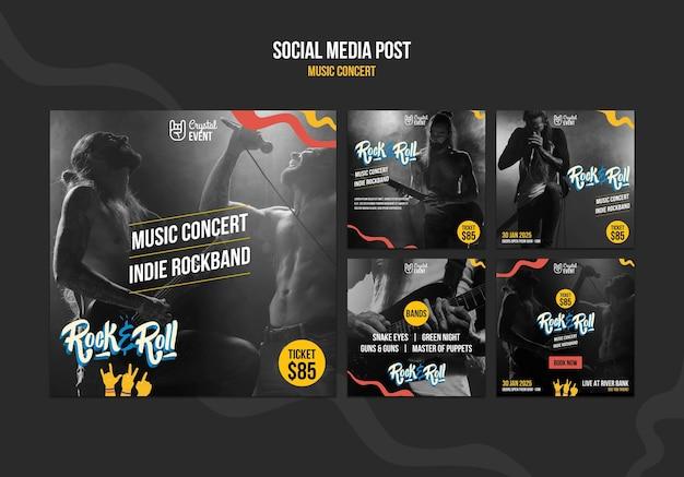 Publication sur les réseaux sociaux d'un concert de musique rock