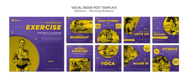 Publication sur les réseaux sociaux d'entraînement du matin de bien-être