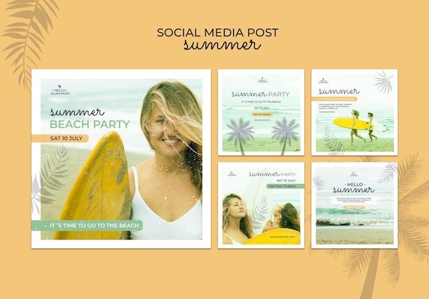 Publication sur les réseaux sociaux de la fête d'été sur la plage