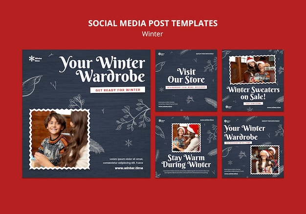 Publication sur les réseaux sociaux de la garde-robe d'hiver