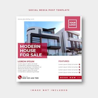 Publication sur les réseaux sociaux de l'immobilier ou modèle publicitaire de bannière web carrée