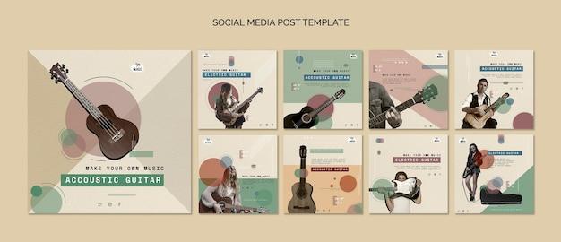 Publication sur les réseaux sociaux de leçons de guitare acoustique