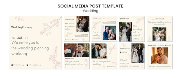 Publication sur les réseaux sociaux de mariage