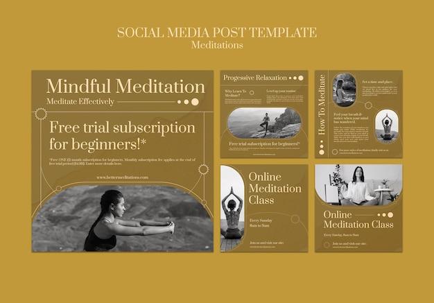 Publication sur les réseaux sociaux de méditation et de pleine conscience
