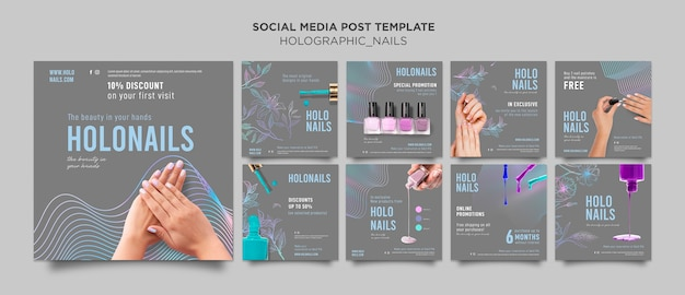 Publication sur les réseaux sociaux des ongles holographiques