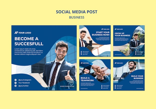 Publication sur les réseaux sociaux pour homme d'affaires