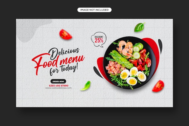 Publication sur les réseaux sociaux de promotion d'aliments sains et conception de modèles de bannières web