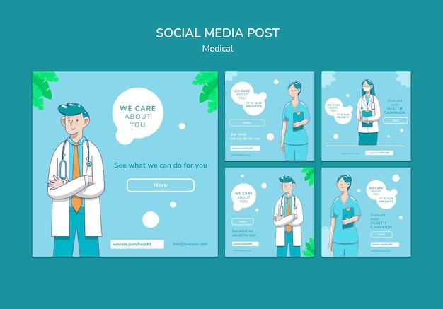Publication Sur Les Réseaux Sociaux Des Soins Médicaux Psd gratuit