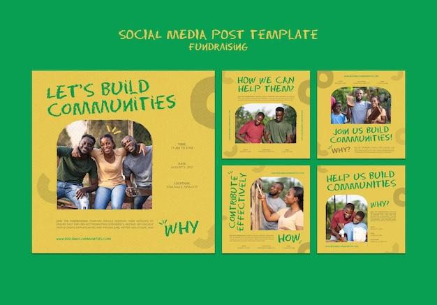 Publications de collecte de fonds sur les réseaux sociaux