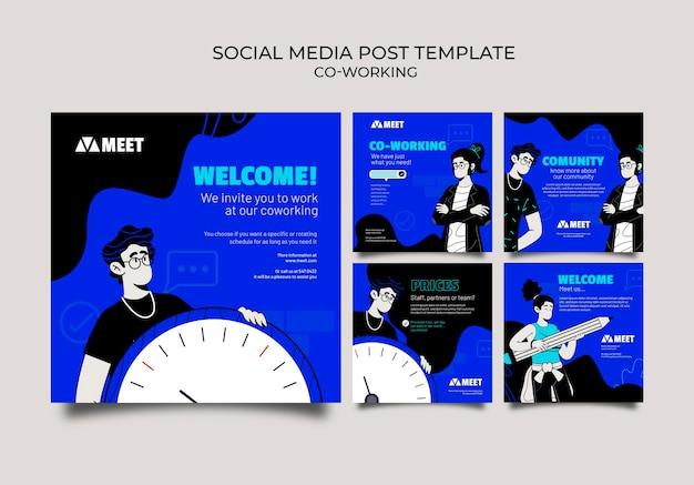 Publications de coworking sur les réseaux sociaux