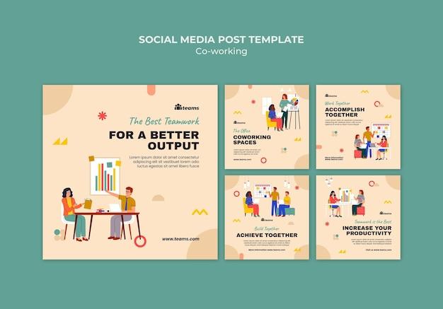 Publications créatives sur les réseaux sociaux en coworking