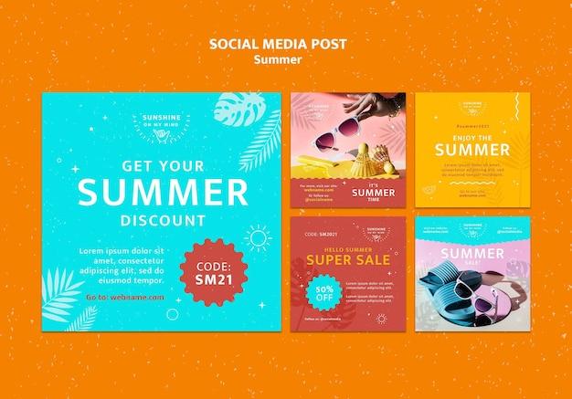 Publications D'été Sur Les Réseaux Sociaux Psd gratuit