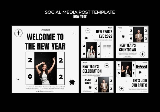Publications festives du nouvel an sur les réseaux sociaux