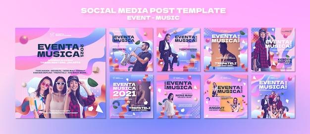 Publications instagram d'événements musicaux dans un style rétro