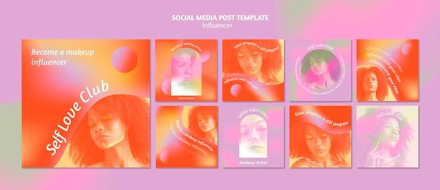 Publications sur les réseaux sociaux du club d'amour de soi dégradé