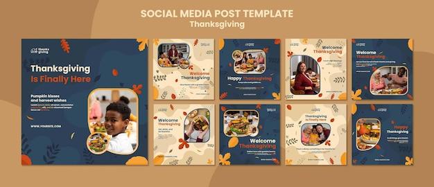 Publications sur les réseaux sociaux du jour de thanksgiving avec des feuilles