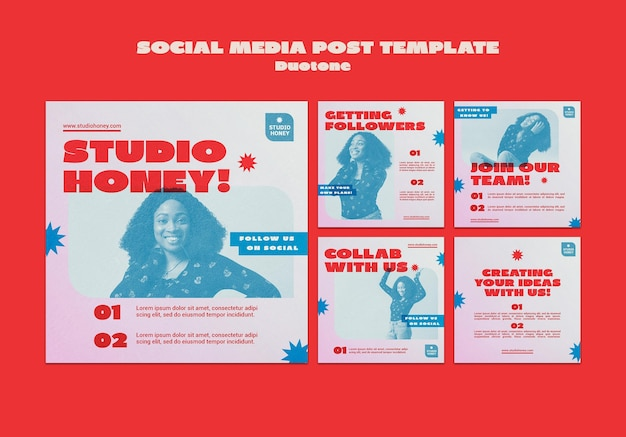 Publications sur les réseaux sociaux duotone business