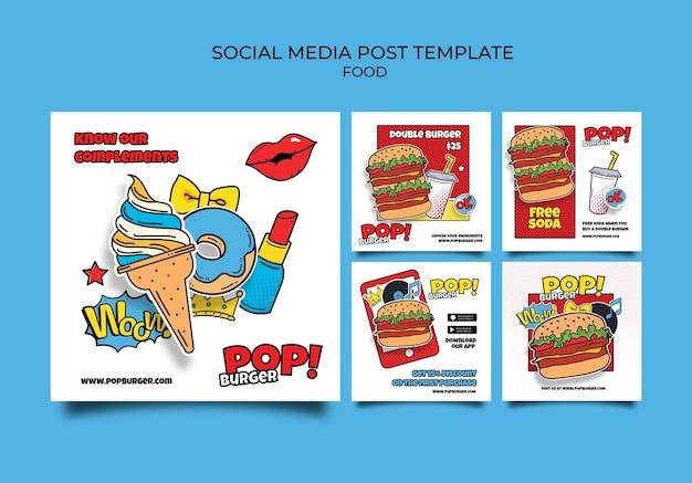 Publications sur les réseaux sociaux de nourriture pop art