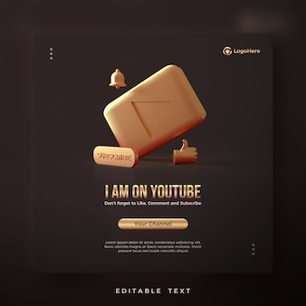 Publications Sur Les Réseaux Sociaux Pour Youtube Avec Rendu 3d PSD Premium