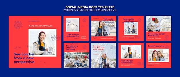 Publications sur les réseaux sociaux de the london eye
