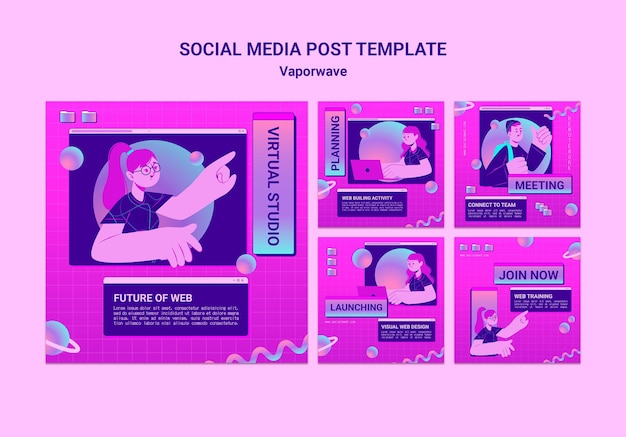 Publications sur les réseaux sociaux de vaporwave