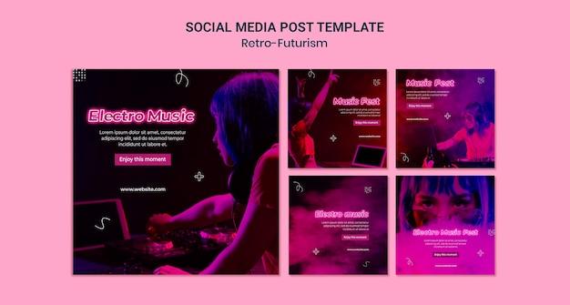 Publications rétro-futuristes sur les réseaux sociaux