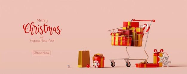 Publicité de bannière de noël pour la vente de noël et du nouvel an, illustration 3d