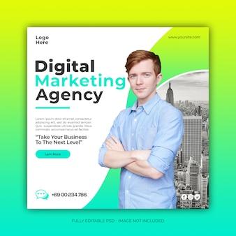 Publicité créative numérique sur les médias sociaux ou bannière web carrée