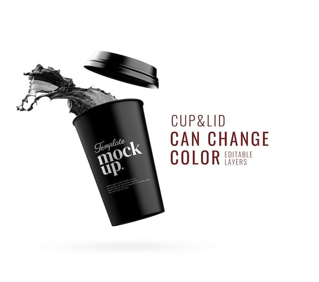 Publicité de maquette de tasse de papier splash eau